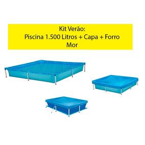 Kit Verão: Piscina 1.500 Litros + Capa + Forro - Mor