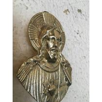 Antigua Imagen Sagrado Corazon !bronce Solido ! Restaurada