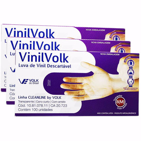 Kit C/ 3 Caixas Luva De Vinil Descartável C/ Amido M Volk