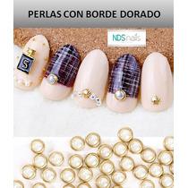 100 Medias Perlas Redondas 4 Mm Con Borde Metalizado
