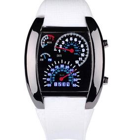 Relógio Led Display Binário Rpm Velocímetro Pulseira Branca