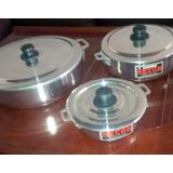Juego De 3 Calderos De Aluminio Chef Buen Calibre Con Tapa