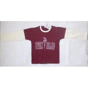 Terno Camisa Buso Para Niño Color Vinotinto Y Crema Talla 2