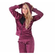 Conjunto Calça E Blusa Frio Plush Veludo Feminino Com Capuz