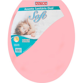 Assento Sanitário Oval Plástico Rosa 1 Astra P/ Vasos Ovais