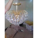 Lámpara De Cristal De Techo Con Moldura De Roseton De Yeso N
