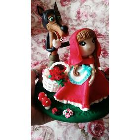 Centro De Torta Porcelana Fria Caperucita Roja
