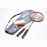 Kit Badminton Vollo 2 Raquetes 3 Petecas Raqueteira Original