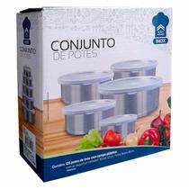 Conjunto C/5 Potes Em Inox C/ Tampa Para Conservar Alimentos