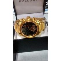 Relogio Automatico Ouro Dourado Bullgari Luxo Frete Gratis