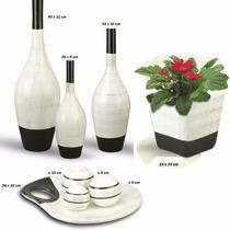 Vasos Decorativos Cerâmica Mais Enfeite Centro De Mesa Trio