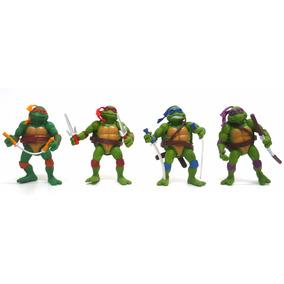 Kit 4 Bonecos Brinquedos Tartarugas Ninjas Pvc + Acessórios