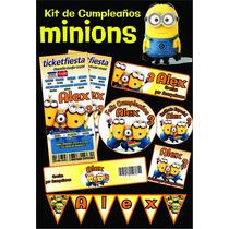 Invitaciones Minnion Impresas Kit De Cumpleaños Banderines