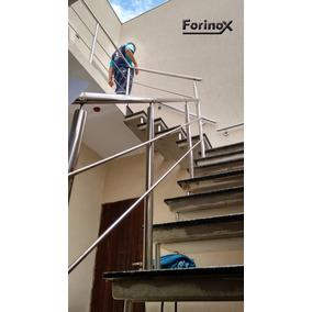 Guarda Corpo, Corrimão Inox Polido, Parede E Escada Escovado