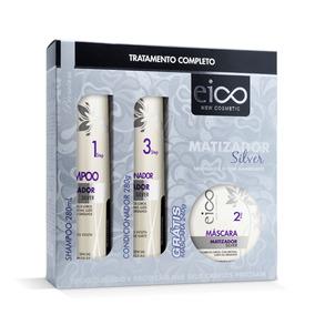 Kit Matizador Silver Shampoo, Condicionador E Máscara Eico
