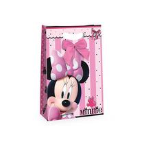 Sacola De Papel C/ Laço Lembrancinha Minnie Rosa 10 Unidades