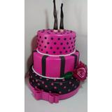Bolo Fake Decorativo Cha De Lingerie Pink E Preto