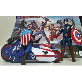 2 Bonecos Capitão América Com Moto E Escudo Clássico