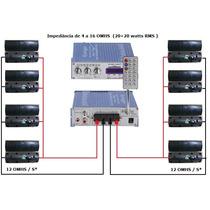 Kit Completo P/ Sonorização Ambiente 1 Amplificador 8 Caixas