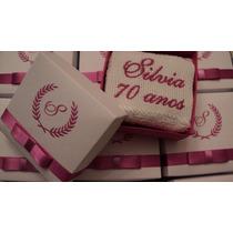 20 Lembrancinhas Personalizadas Caixinha Toalha Mão Bordada