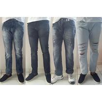 Calça Jeans Estonada Rasgada Colorida Skinny Masculina