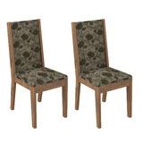 Conjunto 2 Cadeiras Dalla Costa Ca14 Chenille Floral Escuro