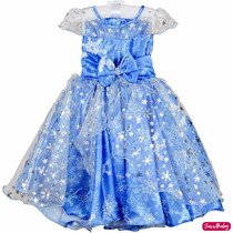 Vestido Elsa Frozen Princesa Infantil Luxo 3 Ao 12 E Tiara