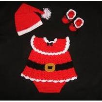 Traje Santa Clous Navidad Tejido A Crochet Para Niñas