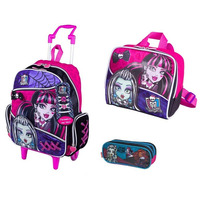 Kit Mochila Rodinhas + Lancheira Monster High Sestini