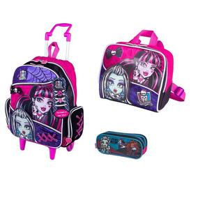 Kit Mochila G Monster High 15z Rodinhas Cadarço Sestini Rosa
