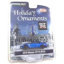 Greenlight Navidad 2015 Nissan Skyline Gt-r R35 1/64 Azul