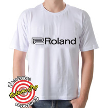 Camiseta Masculina Instrumentos Musicais Roland Keyboards.