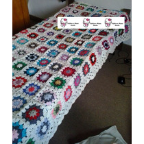 Manta Acolchado Crochet 1 Plaza Lana
