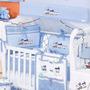 Kit Berco Train Azul Bebê Trem Para Quarto De Meninos