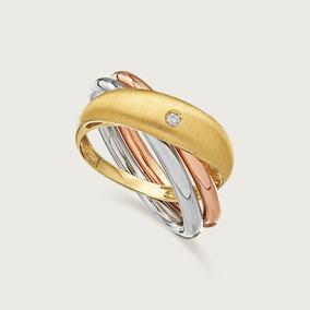 Anel De Ouro Feminino 18k(750) Com Diamante