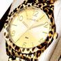 Relógio Lince Feminino Dourada Detalhe De Animal Print + Nf