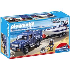 Playmobil 5187 - Coche De Policía Con Lancha Motorizada