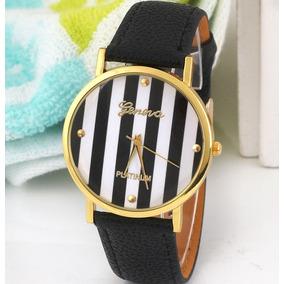 Lindo Relógio Feminino Preto Marinheiro Pulseira Couro Eco