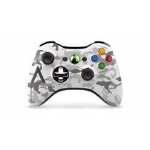 Controle Xbox 360 Wireless Camuflage Artic Microsoft Sem Fio
