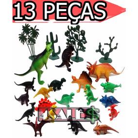 Kit 13 Peças Dinossauros De Borracha Miniatura Pequena