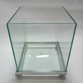 Cachepô Vaso Vidro 35x35 Cm Com Rodízio Alumínio