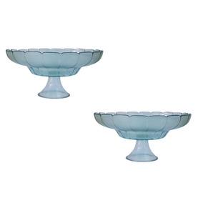 2x Centro De Mesa Vaso Vidro C/ Pé Liso Transparente Florido