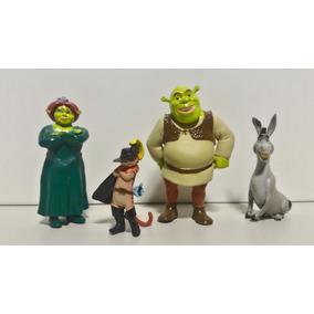 Gato De Botas Shrek Fiona Burro 4 Bonecos Colecionáveis