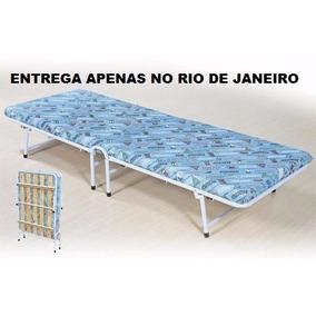 Cama Dobrável + Colchonete Camping Reforçado Rj