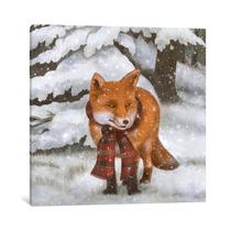 Winter Fox Square By Terry Fan, 26x26x.75