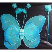 Alas Mariposa Hada Ángel Princesa Disfraz Niña Azul Cetro