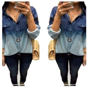 Camisa Blusa Jeans Degrade Feminina Manga Longa - Promoção 1
