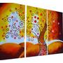 Cuadros Tripticos Texturado Arbol Pintado A Mano