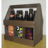 Caixote De Madeira Engradado Com Alça Para 6 Cerveja