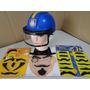 Capacete Viseira Policia + Kit Disfarce Bigode Barba Oculos